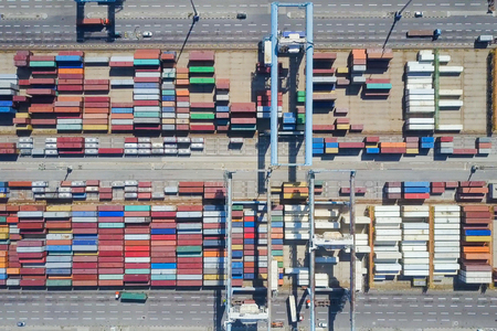 Shipping containers on a holding platform - Top down aerial image Banco de Imagens