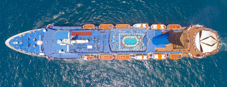 Large cruise ship at sea - Aerial image Banco de Imagens