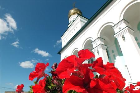 church flower: Svyatotroitsky cathedral church. Stock Photo