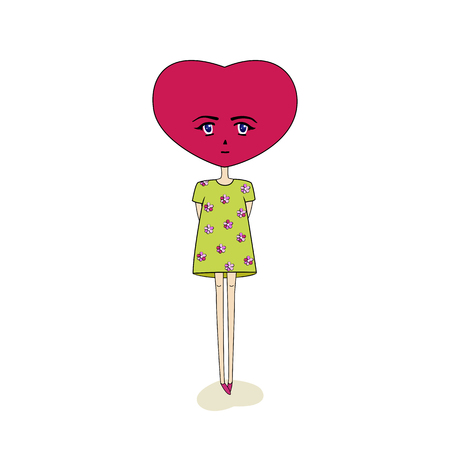A fictional character with a head in the shape of a heart, standing in a green dress. Vector illustration. Isolated white background.