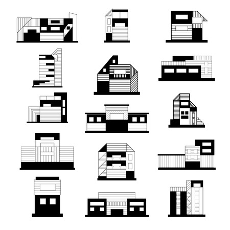 Concept and ideas of the buildings. Set of different buildings. Architecture variations facades. Black and white illustration. Vector.
