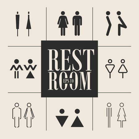 Concept and idea set of various icons toilet. Stroke vector logo, web graphics. Isolated background.