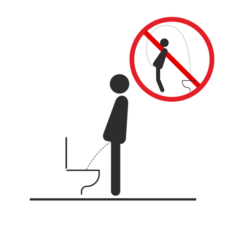 WC Toilet hygiene. Sign and symbol of toilet rules, poster, sticker vector. Toilet safety regulation.