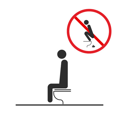 WC Toilet hygiene. Sign and symbol of toilet rules, poster, sticker vector. The man on the toilet.