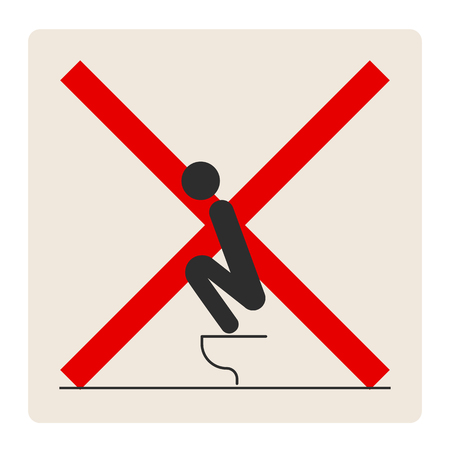 WC Toilet hygiene. Sign and symbol of prohibition to do in the toilet. Sign and symbol of toilet rules, poster, sticker vector. The man on the toilet. Banque d'images - 103198491