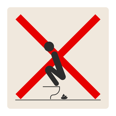 WC Toilet hygiene. Sign and symbol of prohibition to do in the toilet. Sign and symbol of toilet rules, poster, sticker vector. The man on the toilet. Banque d'images - 121821726