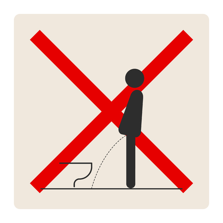 WC Toilet hygiene. Sign and symbol of prohibition to do in the toilet. Sign and symbol of toilet rules, poster, sticker vector. The man on the toilet. Banque d'images - 103198354