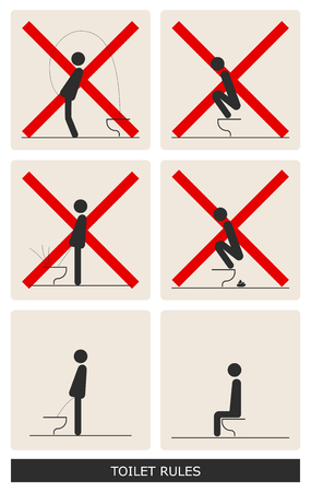 WC Toilet hygiene. Set of sign and symbol of toilet rules, poster, sticker vector. Illustration
