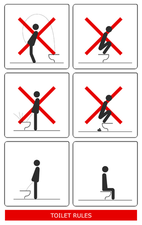 WC Toilet hygiene. Set of sign and symbol of toilet rules, poster, sticker vector. Banque d'images - 103198357