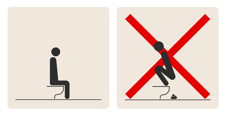 WC Toilet hygiene. Prohibition to do in the toilet. Sign and symbol of toilet rules, poster, sticker vector. The man on the toilet. Banque d'images - 103198222