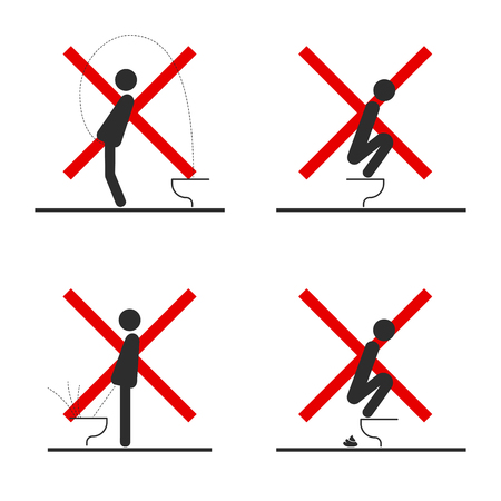 WC Toilet hygiene. Set of sign and symbol of toilet rules, poster, sticker vector. Ilustrace