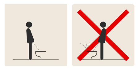 WC Toilet hygiene. Prohibition to do in the toilet. Sign and symbol of toilet rules, poster, sticker vector. The man on the toilet. Banque d'images - 103198177