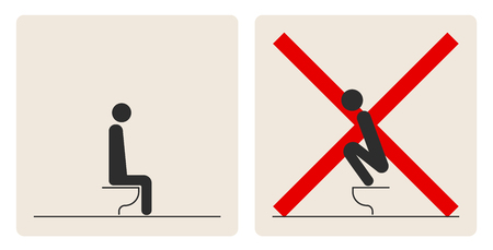 WC Toilet hygiene. Prohibition to do in the toilet. Sign and symbol of toilet rules, poster, sticker vector. The man on the toilet. Illusztráció