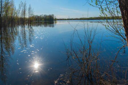 flooding on the Samara river near the city of Samara 免版税图像