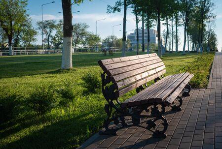 Eine Holzbank auf einem Kopfsteinpflasterweg im Park 2