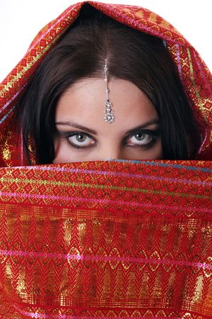 girl in red kerchief in indian style Stock Photo