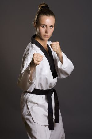 girl punch: girl in white kimono ready to fight