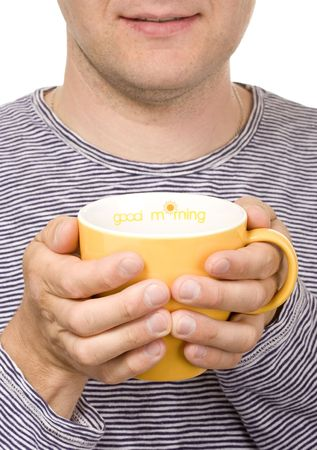 titled: A man with a yellow cup  titled Good morning Stock Photo