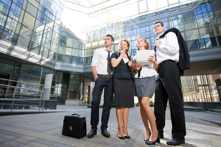 Group of office workers stay outdoor Stock Photo - 7647872