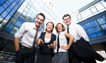 Group of happy office workers stay outdoor