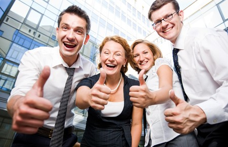 Happy office workers stay outdoor photo