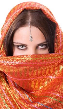 shawl: Portrait of indian woman in studio