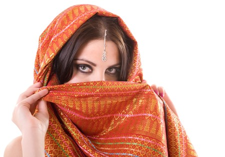 middle eastern clothing: Portrait of indian woman in studio