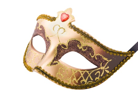 Golden carnival mask isolated on white with clipping path Stock Photo