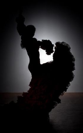 Silhouette of flamenco dancer in dress on dark background