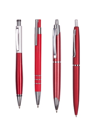 ballpoint pen: Set from four red pens isolated on white background  Stock Photo