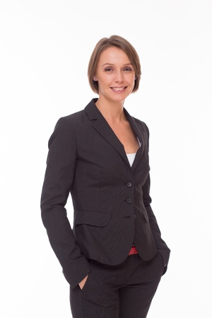 Business woman in suit isolated on white