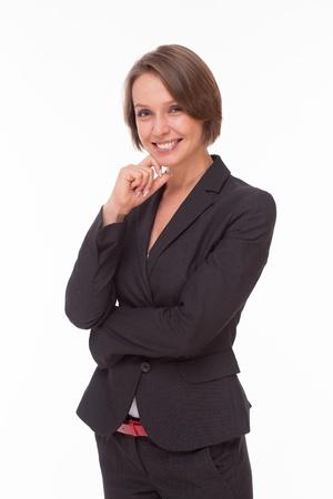 Zakelijke vrouw in pak lachend op een witte