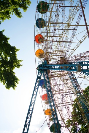 observation wheel: View on observation wheel across blue sky Stock Photo