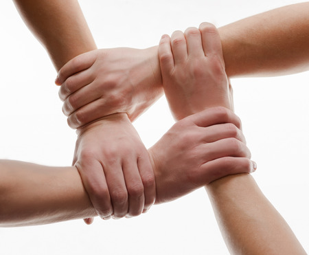 Human hands handshake isolated on white background photo