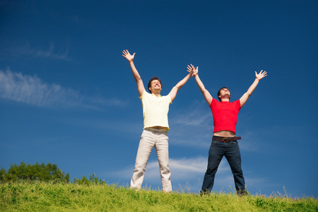 positivity: Group of young people express positivity Stock Photo