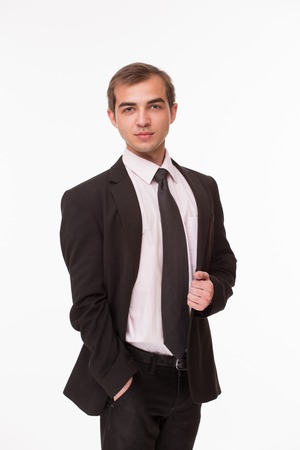 at tact: Businessman involving tact, financial and business intelligence, courage. Man dressed in business suit isolated on white.