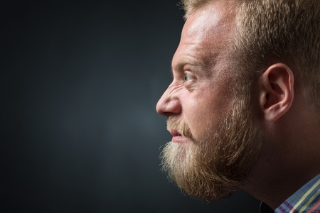 demanding: Close-up portrait of left cheek of strict and demanding bearded man. Blond man googling his eyes on black background. Stock Photo