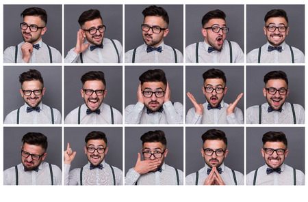 grimacing: Collage of young hipster man with different facial expressions. Set of handsome emotional man showing several expressions isolated on grey background.