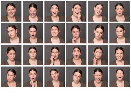 emotional woman: Chinese girl with different facial expressions. Set of different pictures of emotional woman isolated on grey background.