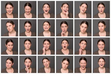 collage caras: Muchacha china con diferentes expresiones faciales. Conjunto de diversas imágenes de mujer emocional aislado sobre fondo gris. Foto de archivo