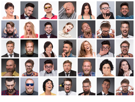 caras de emociones: Caras de la gente diversa. Collage de diversas personas de edad multiétnicas y mixtos que expresan diferentes emociones y sentimientos.
