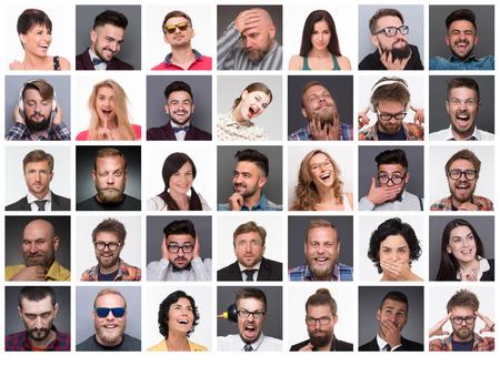 volti: I volti delle persone diverse. Collage di diversi uomini multietnica e misti età che esprimono diverse emozioni e sentimenti.