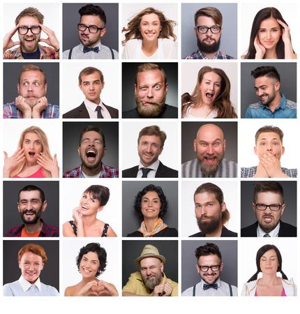 the emotions: Diversas personas con diferentes emociones. Collage de diversas personas rango de edad multi�tnicas y mixtos que expresan diferentes emociones. Foto de archivo
