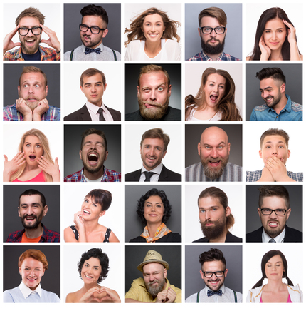 Persone diverse con diverse emozioni. Collage di diversi range di età multietnica persone e misti che esprimono emozioni diverse.