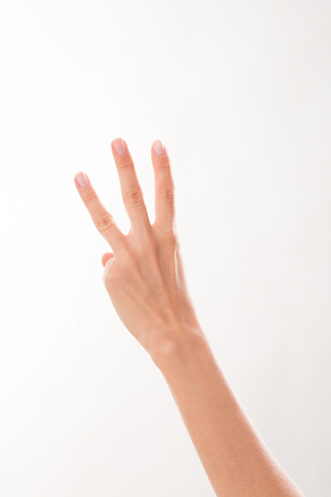three fingers: Three fingers on the left hand showing several situations to solve the problem. This hand may be used for any business poster.