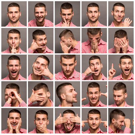 expressing: Set of handsome emotional man over grey background. Mosaic of young man expressing different emotions. Model man with different facial expressions. Stock Photo
