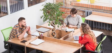 freelancers: Top view of real business people discussing future business projects in board room. Happy freelancers working in office.
