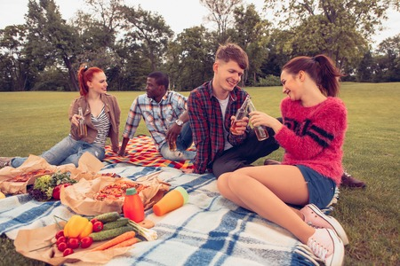 Picture of two happy couples spending free time on picnic. People smiling and sitting on picnic rug and drinking alcohol cocktails. Stock Photo