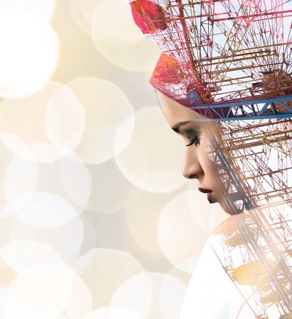 observation wheel: Beautiful model face double exposure shot with observation wheel and blured background