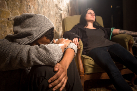 Drugs concept. Man and woman with AIDS resting and relaxing. Disease concept. Drug addict sleeping after taking drugs.